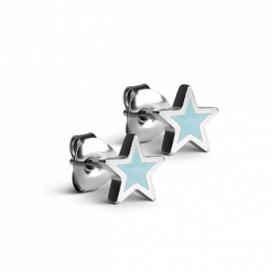 Star Stud with Teal Enamel, sterlingsølv