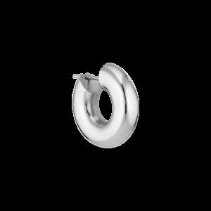 Shiny small Chunky Hoop, silver