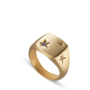 Star Signet ring, gold-plated sterling silver
