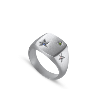 Star Signet ring, sterling silver