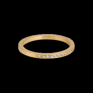 Small alliance ring, semi filled, 18-carat gold, 0,005 ct diamonds