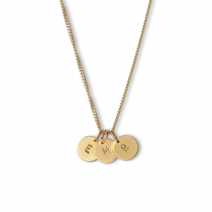 Combination of a Curb Chain and 3 medium Lovetags, gold-plated sterling silver