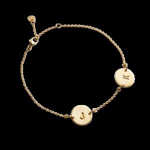 Lovetag Bracelet with 2 Lovetags, forgyldt sterlingsølv