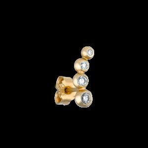 Ear stud, 18-carat gold, blue and white brillant cut-diamonds, 0,16 ct.
