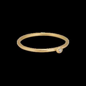 Princess ring, 18-karat gull, 0.01 ct diamant, kulefeste