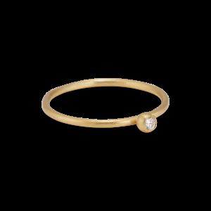Princess ring, 18 karat gull, 0.03 ct diamant, kulefeste