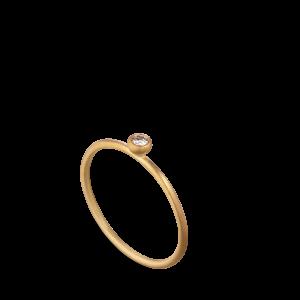 Princess ring, 18-carat gold, 0.05 ct diamond, ball mount