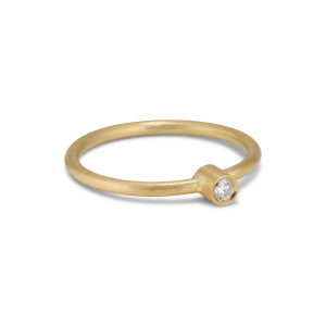 Princess ring, 18-carat gold, 0.05 ct diamond, tube set
