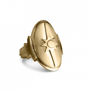 Shield Ring, gold-plated sterling silver