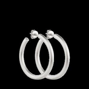 Slender Hoop | Mat sølv