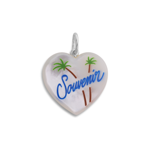 Souvenir Heart with enamel, pendant, sterling silver