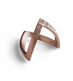 Diamond V Ring, rose gold plated sterling silver