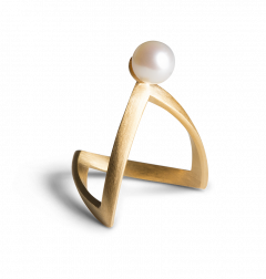 Pearl V Ring, gold-plated sterling silver