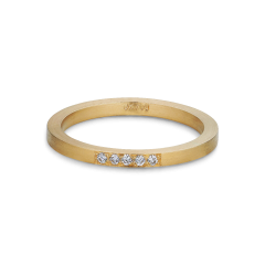 Alliansring, 18 karat guld, 5 diamanter, 0,025 ct.