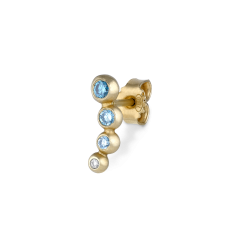 Ear stud, 18-carat gold, blue and white brillant cut-diamonds, 0.16 ct.