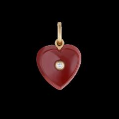 Heart pendant, farvet carneol, 0,01 ct. diamant, 18 karat guld