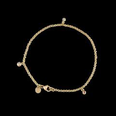 Chain bracelet with three diamond pendants, 0.04 ct. diamonds, 18-karat gold