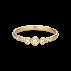 Enkel vielsesring med 9 diamanter, 0,17 ct. 18 karat guld