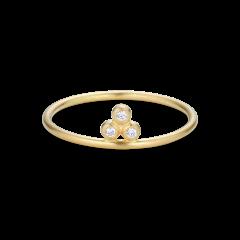 Tempelring, 3 Diamanten, 0,03 ct. 18 Karat Gold