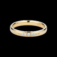 Vigselring, 7 diamanter, 0,10 karat, 18 karat guld