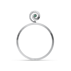 Impression Hoop with emerald, sterling silver