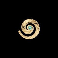 Impression Stud med smaragd, forgyldt sterlingsølv