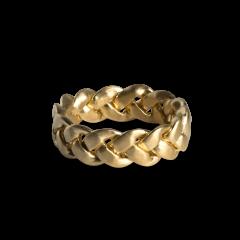 Stor flettet ring, 18 karat gull