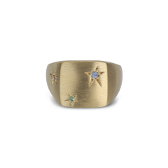 Star Signet ring, vergoldetem Sterlingsilber