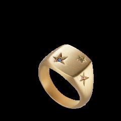 Star Signet ring, vergoldetem Sterlingsilber