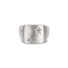 Star Signet ring, sterling silver