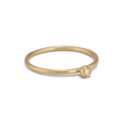 Princess ring, 18 Karat Gold, 0.03 ct Diamant, Kugelhalterung