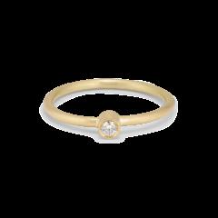 Princess ring, 18 karat gull, 0.03 ct diamant, rørsett