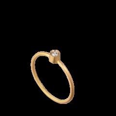 Princess ring, 18 Karat Gold, 0.05 ct Diamant, Röhrensatz