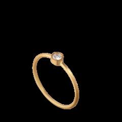 Princess ring, 18 Karat Gold, 0.10 ct Diamant, Röhrenset